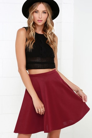 Swing Into High Gear Wine Red Skater Skirt at Lulus.com!