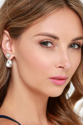 Forever Yours Silver Rhinestone Peekaboo Earrings at Lulus.com!