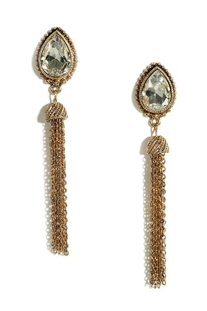 Tear and There Gold and Green Rhinestone Tassel Earrings at Lulus.com!