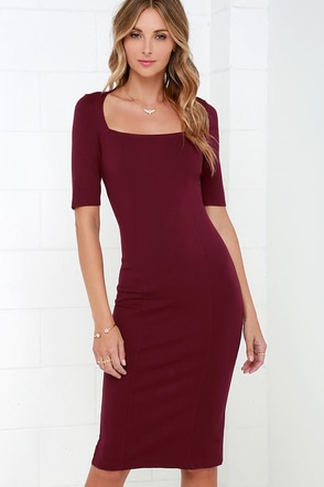 Elevated Burgundy Bodycon Midi Dress at Lulus.com!