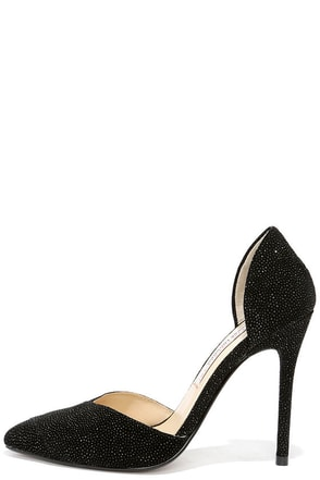 Chinese Laundry Kamryn Black Leather Rhinestone D'Orsay Pumps at Lulus.com!