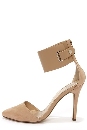 Ines 11 Taupe Suede Ankle Cuff Pointed Pumps