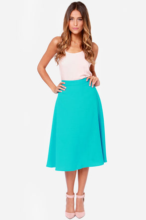 Play it Again Aqua Blue Midi Skirt