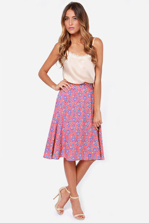 Bed of Posies Coral Floral Print Midi Skirt