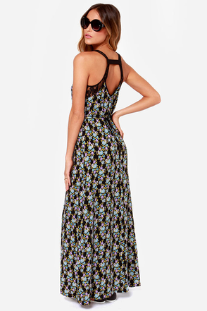 Here Comes the Sundress Black Floral Print Maxi Dress at Lulus.com!