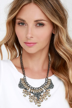Rock Song Gunmetal Rhinestone Statement Necklace at Lulus.com!