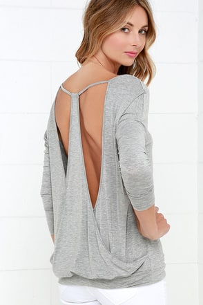 Drop It Low Grey Long Sleeve Top at Lulus.com!