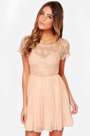 Air of Elegance Light Peach Lace Dress