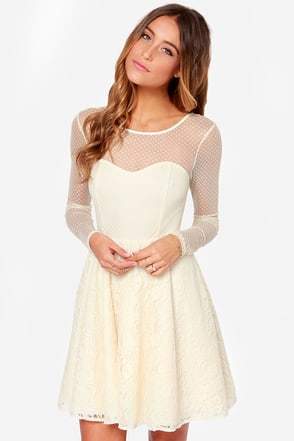 Cherish You Cream Lace Dress at Lulus.com!