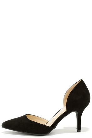 Beauty Call Black D'Orsay Kitten Heels at Lulus.com!