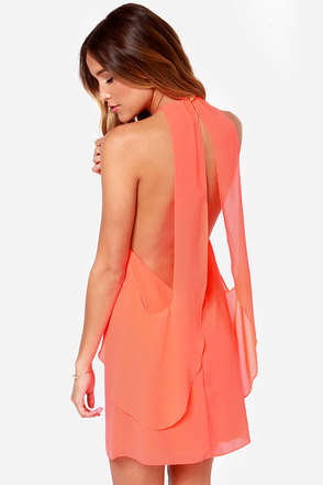 Caution to the Wind Neon Coral Dress