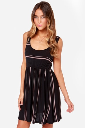 Volcom Early Bird Black Striped Dress