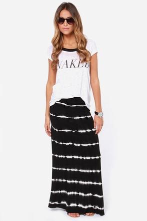 Volcom Skippin Town Black Tie-Dye Maxi Skirt
