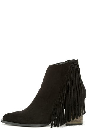 Country Glamour Black Suede Fringe Booties at Lulus.com!