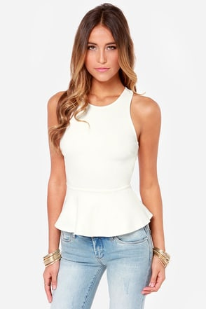 Nobody's Baby Backless Ivory Peplum Top