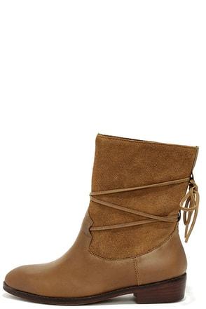 Latigo Pogo Cognac Leather Flat Mid-Calf Boots at Lulus.com!