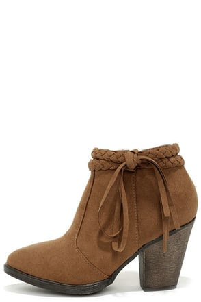 A Rare Braid Chestnut Brown Suede Booties at Lulus.com!