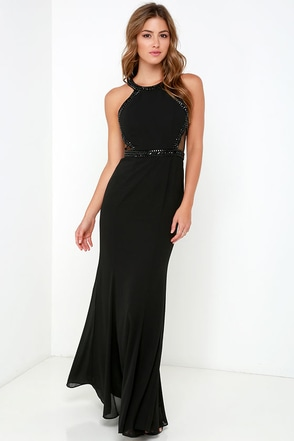 Dancing on Air Black Beaded Maxi Dress at Lulus.com!