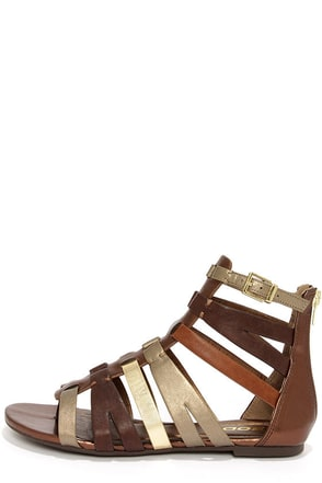 Soda Moore Bronze Multi Gladiator Sandals