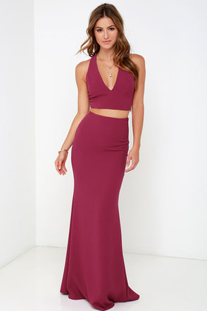 Flutterby Wine Red Two Piece Maxi Dress at Lulus.com!
