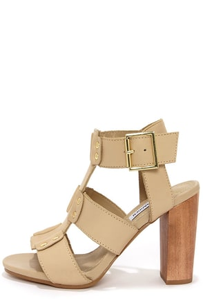 Steve Madden Nevile Bone Leather Caged High Heel Sandals