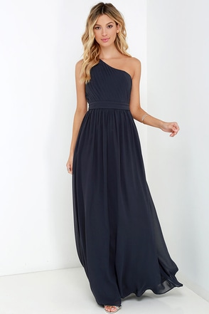 Painted Words Dark Blue Grey One Shoulder Maxi Dress at Lulus.com!