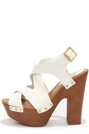 Renee 33 White Crisscrossing Platform Sandals