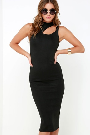 Take a Step Backless Black Bodycon Midi Dress at Lulus.com!