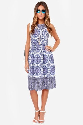 Pattern the Tide Blue Print Midi Dress at Lulus.com!