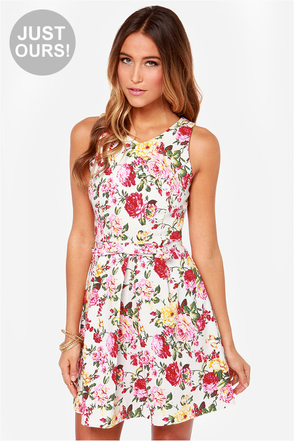 LULUS Exclusive Rose to Fame Navy Blue Floral Print Dress