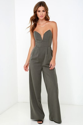 Leisure Suit Dark Grey Strapless Jumpsuit at Lulus.com!