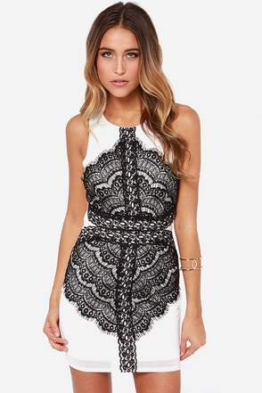Flaunt and Center Black and White Lace Dress at Lulus.com!