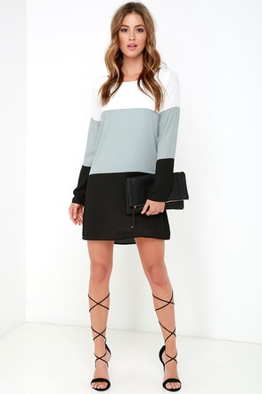 Block it Out Grey and Black Long Sleeve Shift Dress at Lulus.com!