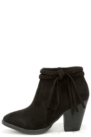 A Rare Braid Black Suede Booties at Lulus.com!