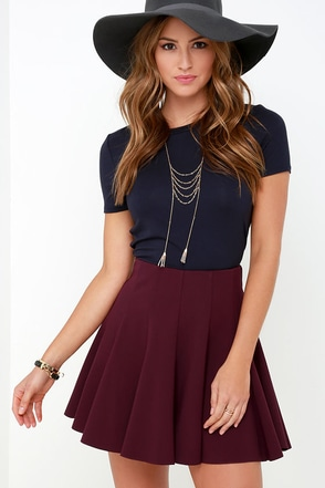Flare Weather Friend Flared Burgundy Skirt at Lulus.com!