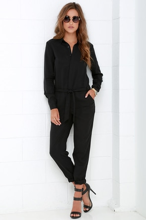 Mink Pink Sinking Ships Black Long Sleeve Jumpsuit at Lulus.com!