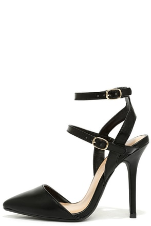 Got It Made Black Ankle Strap Pumps at Lulus.com!