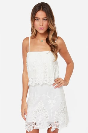 Laced in Space Embroidered Ivory Dress