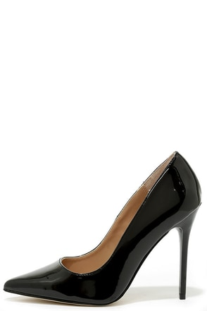 Madden Girl OhNice Black Patent Pointed Pumps at Lulus.com!