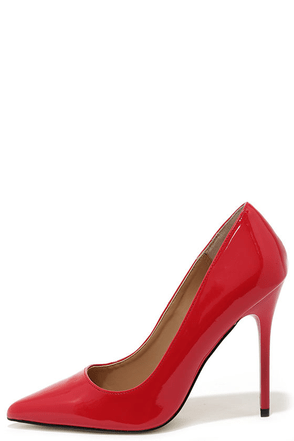 Madden Girl OhNice Red Patent Pointed Pumps at Lulus.com!