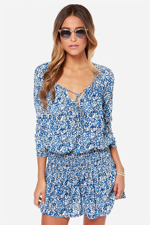 Happy Daisies Ivory and Blue Floral Print Dress