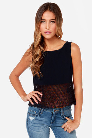 Black Swan Willow Navy Blue Lace Top