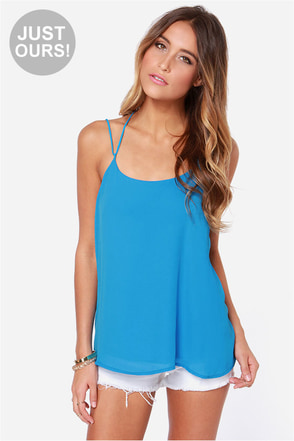 LULUS Exclusive Undivided Attention Blue Top