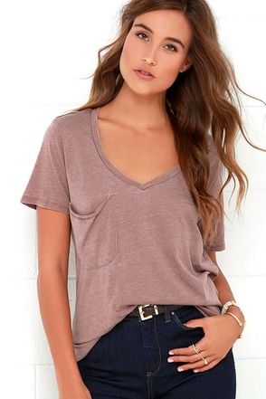 Z Supply Pleasant Surprise Mauve Tee at Lulus.com!