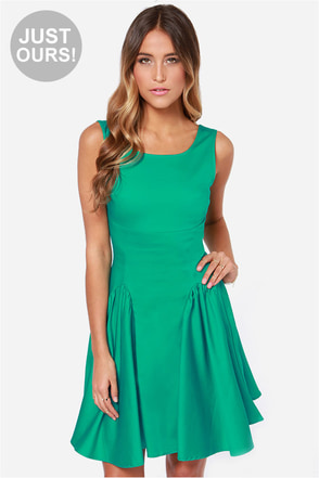 LULUS Exclusive Godet to You Green Dress