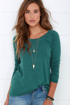 The Homerun Washed Teal Long Sleeve Top at Lulus.com!