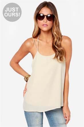LULUS Exclusive Undivided Attention Light Beige Top