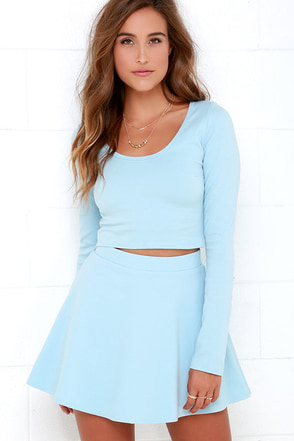 Stratosphere Light Blue Two-Piece Skater Dress at Lulus.com!