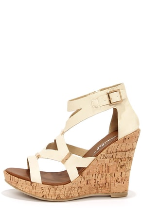 Modina 3 Coral and Gold Platform Wedge Sandals