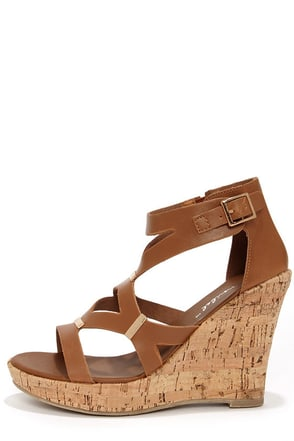 Modina 3 Tan and Gold Platform Wedge Sandals